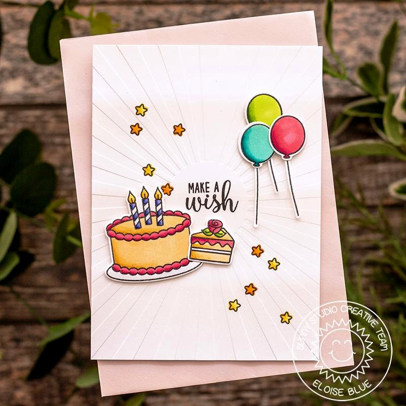 Sunny Studio Stamps Embossed Birthday Cake & Balloons Card (using Sunburst Sun Ray 6x6 Embossing Folder)