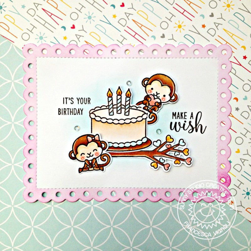 Sunny Studio Stamps Monkey Birthday Card (using Frilly Frames Polka-Dot Die)