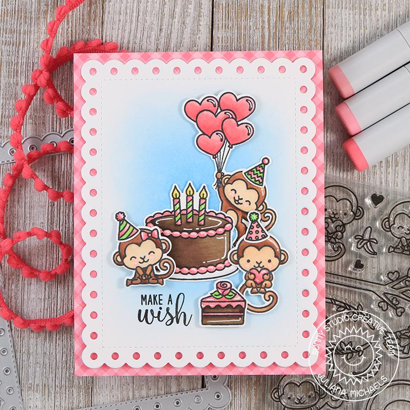 Sunny Studio Make A Wish Monkey Birthday Card (using Frilly Frames Polka Dot Dies)
