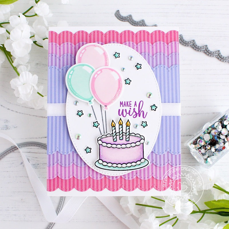 Sunny Studio Stamps Make A Wish Birthday Cake & Balloons Pink & Lavender Scalloped Card by Leanne West