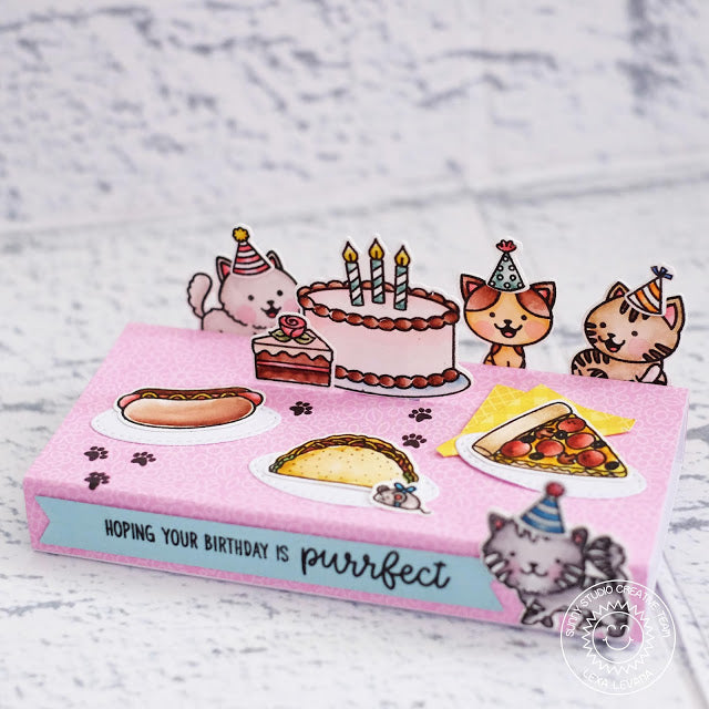 Sunny Studio Stamps Make A Wish Kitty Cat Birthday Party with Cake & Pizza Pop-up Card