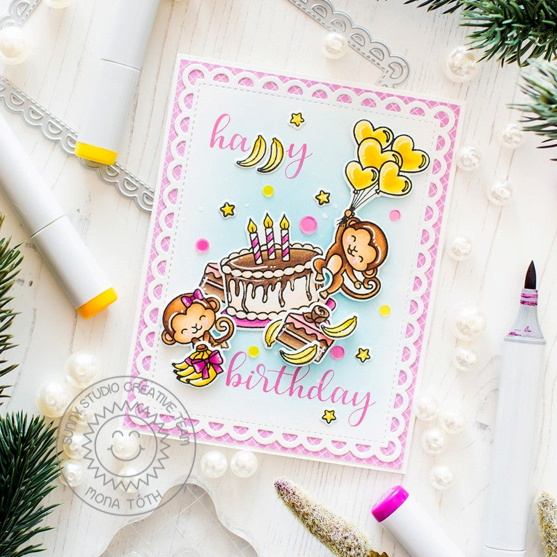 Sunny Studio Stamps Monkey Birthday Card (using Frilly Frames Lattice Die)