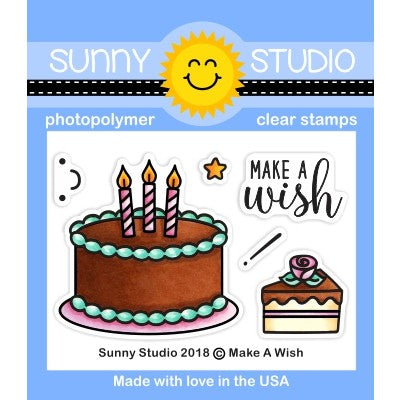 Sunny Studio Stamps Make A Wish Birthday Cake 2x3 Clear Photo-Polymer Stamp Set