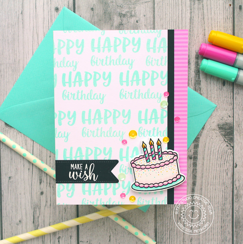 Sunny Studio Stamps Make A Wish Birthday Cake Pnk & Aqua Card by Angelica