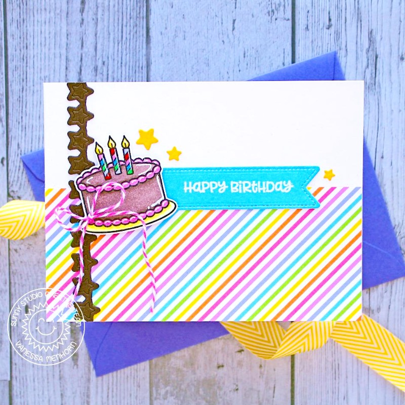 Sunny Studio Stamps Make A Wish Birthday Cake with Rainbow Stripes Handmade Card