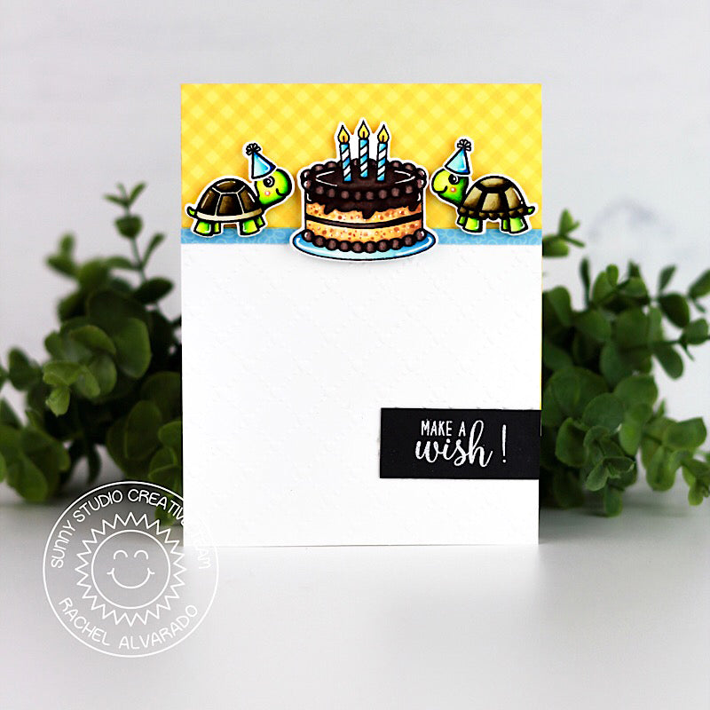 Sunny Studio Stamps Make A Wish Turtle & Birthday Cake card by Rachel