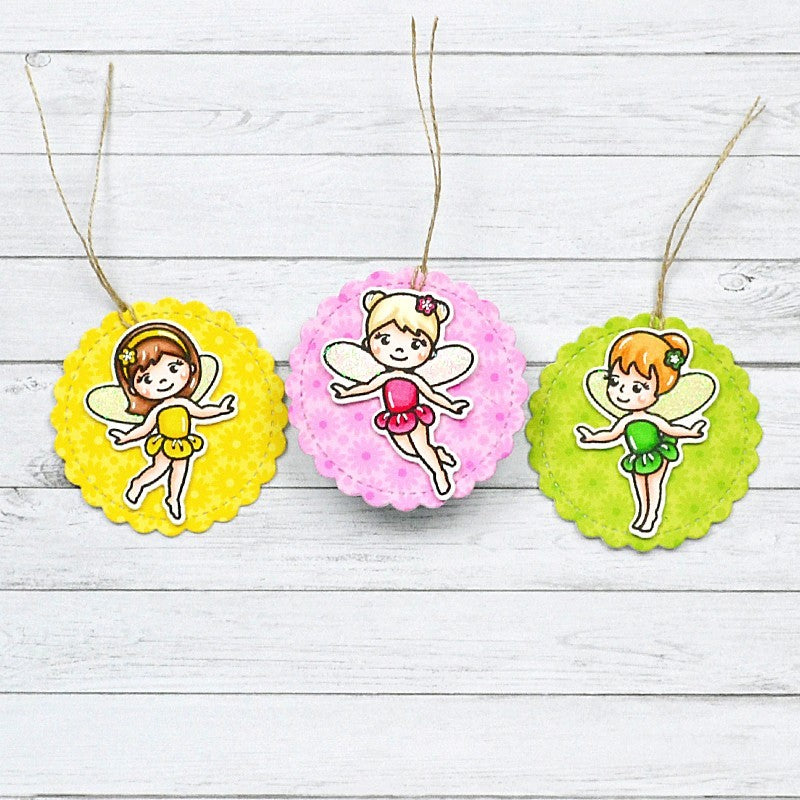 Sunny Studio Stamps Fairy Princess Handmade Gift Tags (using Scalloped Circle Mat 1 Dies)