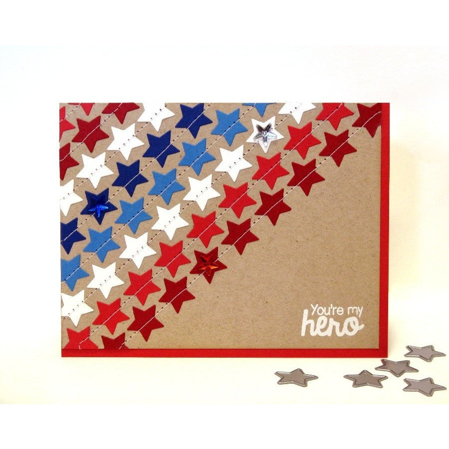 Sunny Studio Stamps Stars & Stripes You're My Hero Star Card