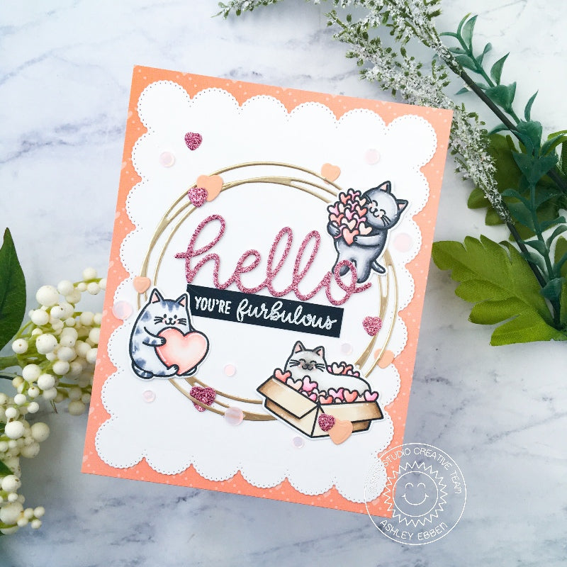 Sunny Studio Hello You're Furbulous Punny Kitty Cat Scalloped Circle Handmade Card (using Meow & Furever 4x6 Clear Stamps)