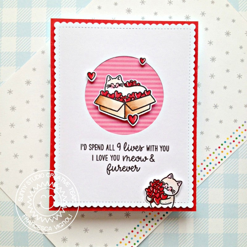 Sunny Studio I'd Spend All 9 Lives with You Punny Kitty Cat Handmade Valentine's Day Card (using Meow & Furever 4x6 Clear Stamps)