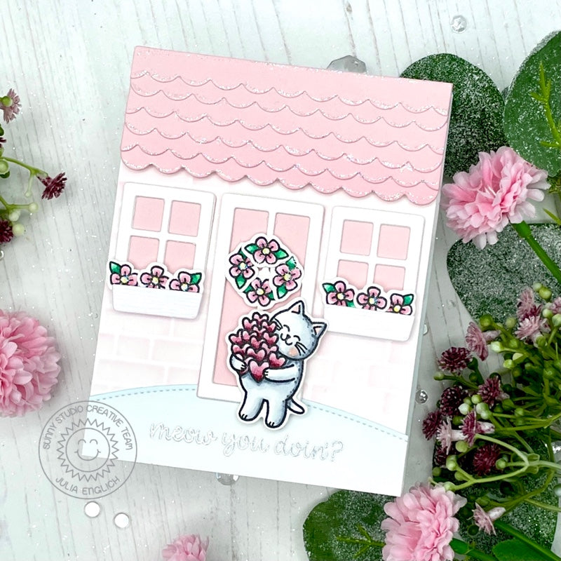 Sunny Studio Meow You Doin'? Kitty Cat Pink House Themed Punny Handmade Card (using Meow & Furever 4x6 Clear Stamps)