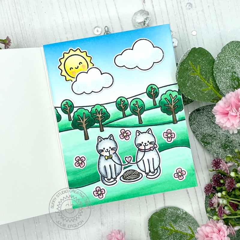 Sunny Studio Kitty Cats Eating Spaghetti in the Park Love Themed Handmade Card (using Meow & Furever 4x6 Clear Stamps)
