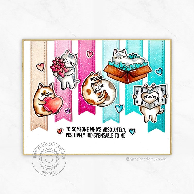 Sunny Studio Stamps Hot Pink & Aqua Kitty Cats Love Themed Handmade Card (using Slimline Pennants Metal Cutting Dies)