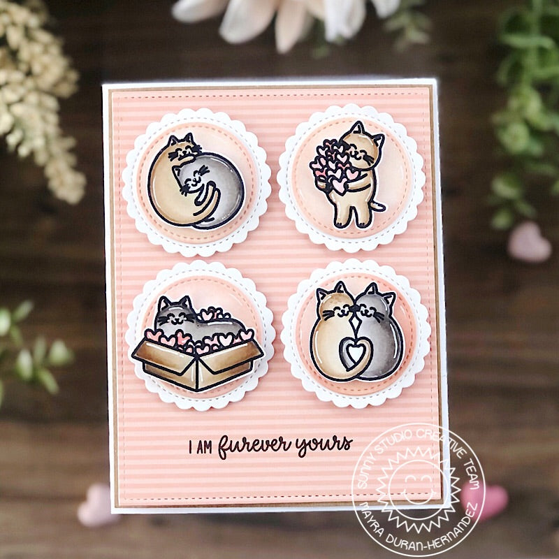 Sunny Studio Stamps Peach Striped Love Themed Kitty Cat Grid Style Card (using Scalloped Circle Mat 1 Metal Cutting Dies)