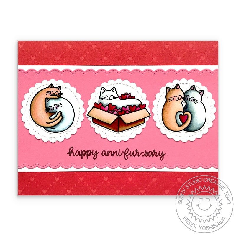 Sunny Studio Stamps Happy Anni-fur-sary Punny Cat Anniversary Love themed handmade card (using Meow & Furever 4x6 Clear Stamps)