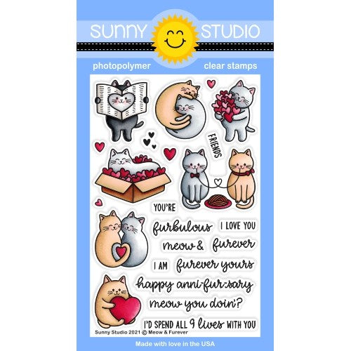 Sunny Studio Stamps Meow & Furever Cat Love Themed 4x6 Clear Photopolymer Stamp Set