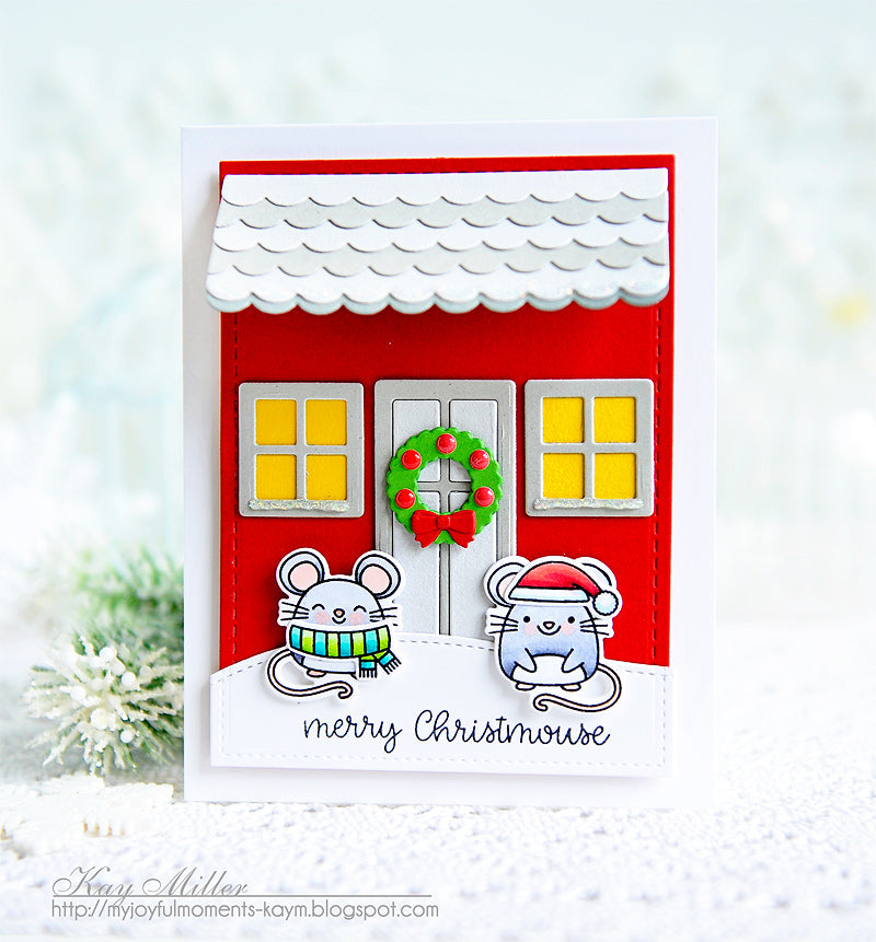 Sunny Studio Christmas Mouse House Holiday Card by Kay Miller (using Merry Mice Stamps and Sweet Treats House Add-on Dies)