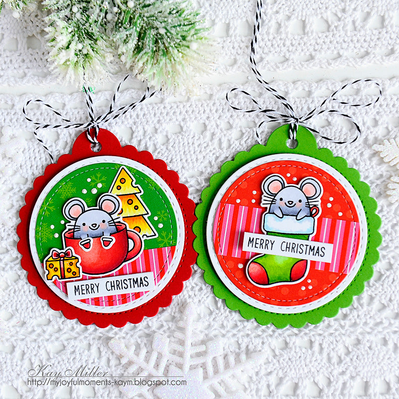 Sunny Studio Stamps Christmas Mouse Christmas Holiday Gift Tags using stitched Scalloped Circle Gift Tag Die Set