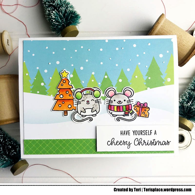 Sunny Studio Stamps Have Yourself A Cheesy Christmas Merry Mice Holiday Christmas Card (using Very Merry Tree and Snowy Winter 6x6 Patterned Paper)