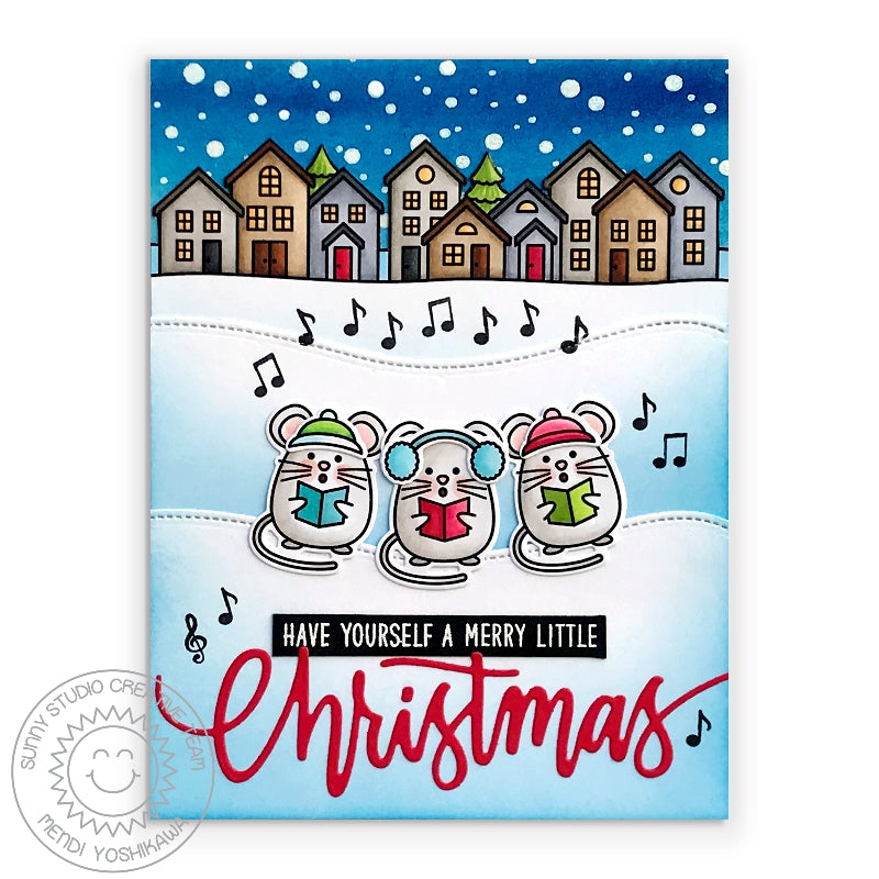 Sunny Studio Merry Mice Caroling Mouse Holiday Christmas Card by Mendi Yoshikawa (using Frosty Flurries 2x3 Background Stamps)