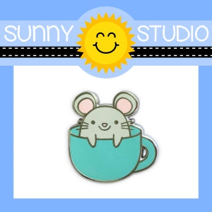 Sunny Studio Stamps Merry Mice Mouse in Mug Collectible Collector Hard Enamel Pin with Rubber Back