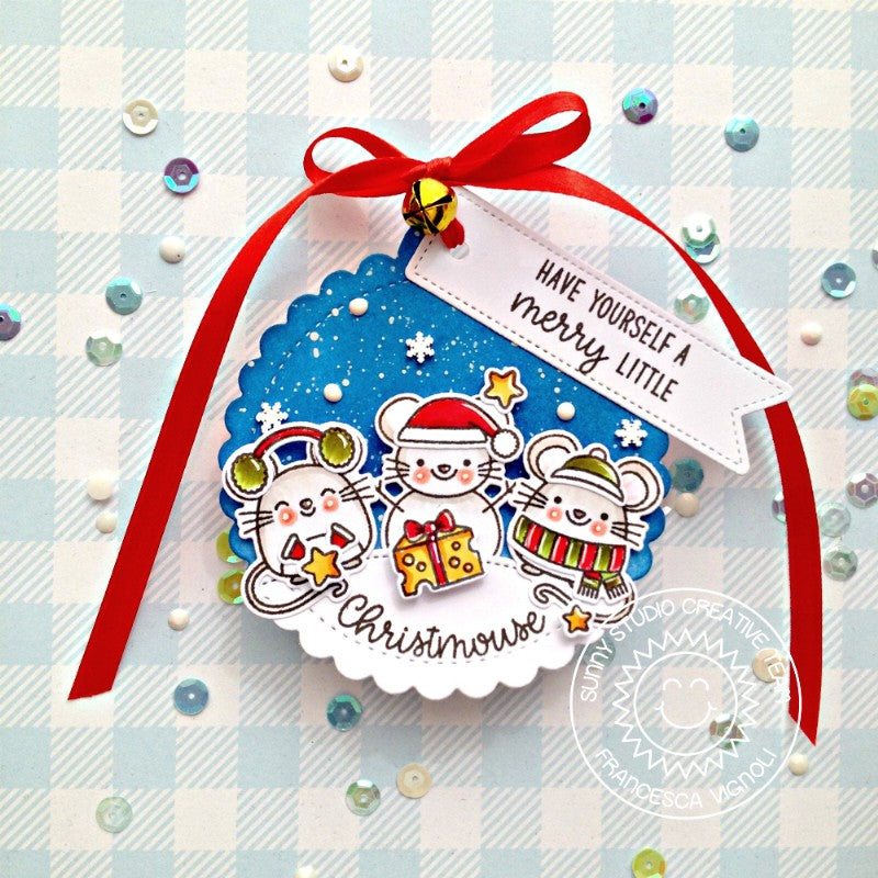 Sunny Studio stamps Merry Mice Holiday Mouse Christmas Gift Tags (using stitched Scalloped Circle Tag dies)