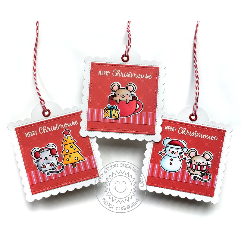Sunny Studio Stamps Merry Mice Christmas Mouse Stitched Holiday Gift Tags (using Scalloped Square Tag Dies)