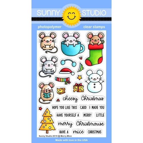 Sunny Studio Stamps Merry Mice Christmas Holiday Mouse 4x6 Photopolymer Clear Stamp Set