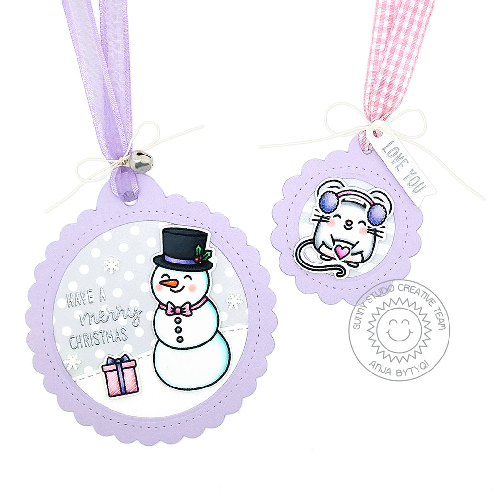 Sunny Studio Stamps Lavender Snowman and Mouse Christmas Holiday Gift Tag by (using stitched Scalloped Circle Tag Dies)