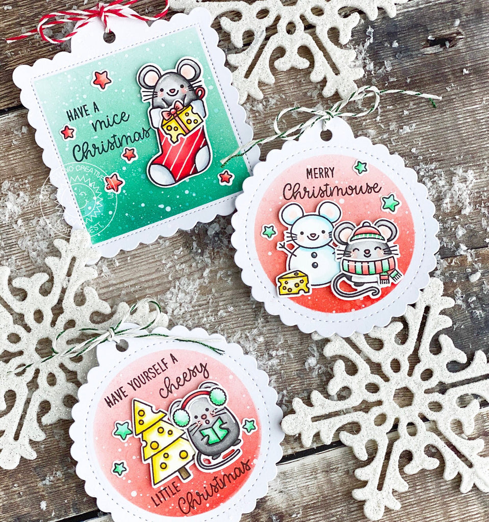 Sunny Studio Stamps Merry Mice Mouse Christmas Holiday Gift Tag by Leanne West (using stitched Scalloped Circle Tag Dies)