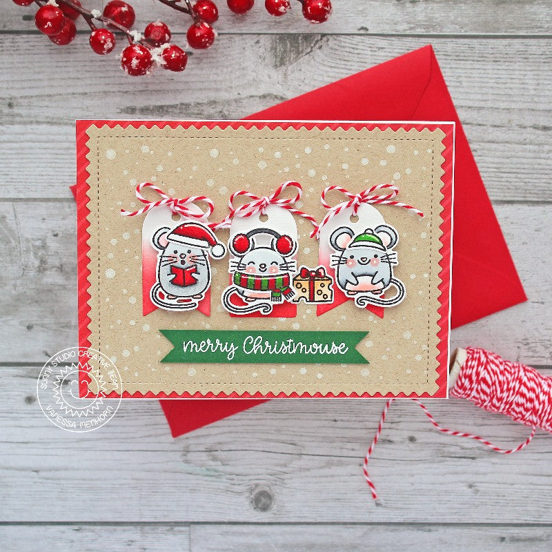 Sunny Studio Red Kraft Mice with White Heat Embossed Snowflake Holiday Christmas Card by Vanessa Menhorn (using Frosty Flurries 2x3 Background Stamps)