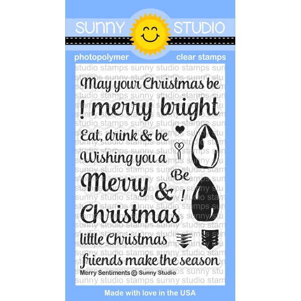 Sunny Studio Stamps Merry Sentiments 3x4 Christmas Lightbulb Photo-Polymer Clear Stamp Set