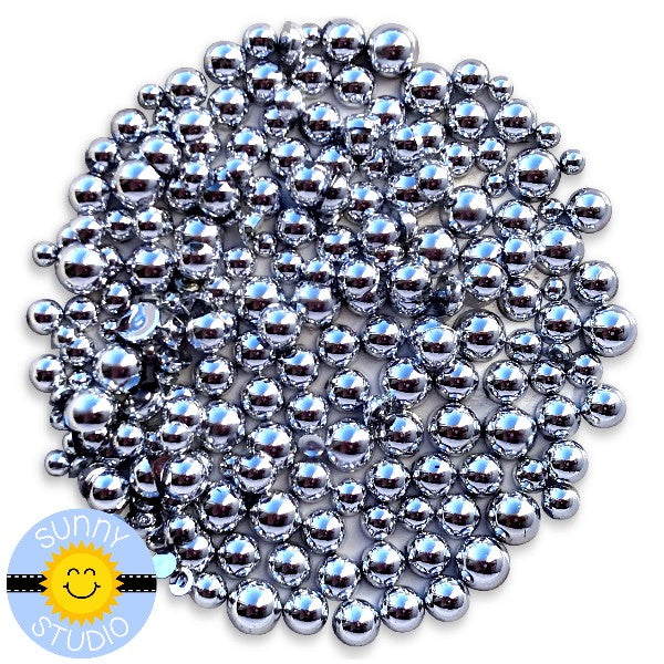 Sunny Studio Stamps Metallic Silver Drops Droplets Faux Pearl Embellishment- 3mm, 4mm, 5mm & 6mm