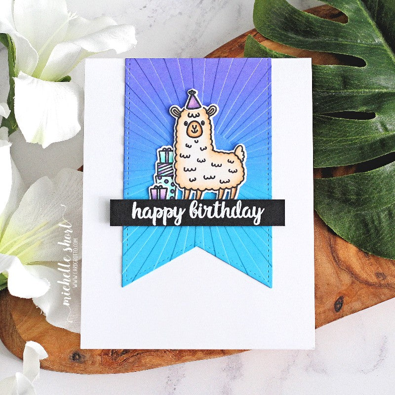 Sunny Studio Llamas with Gifts & Party Hat Handmade CAS Clean & Simple Birthday Card (using Lovable Llama 2x3 Clear Stamps)