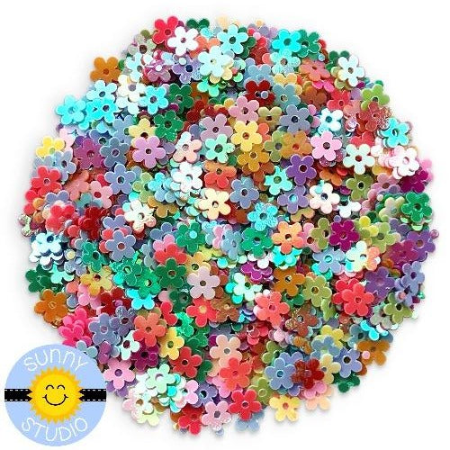 Sunny Studio Stamps Iridescent Rainbow Mini Flower Sequins perfect for embellishing paper crafting projects or shaker cards