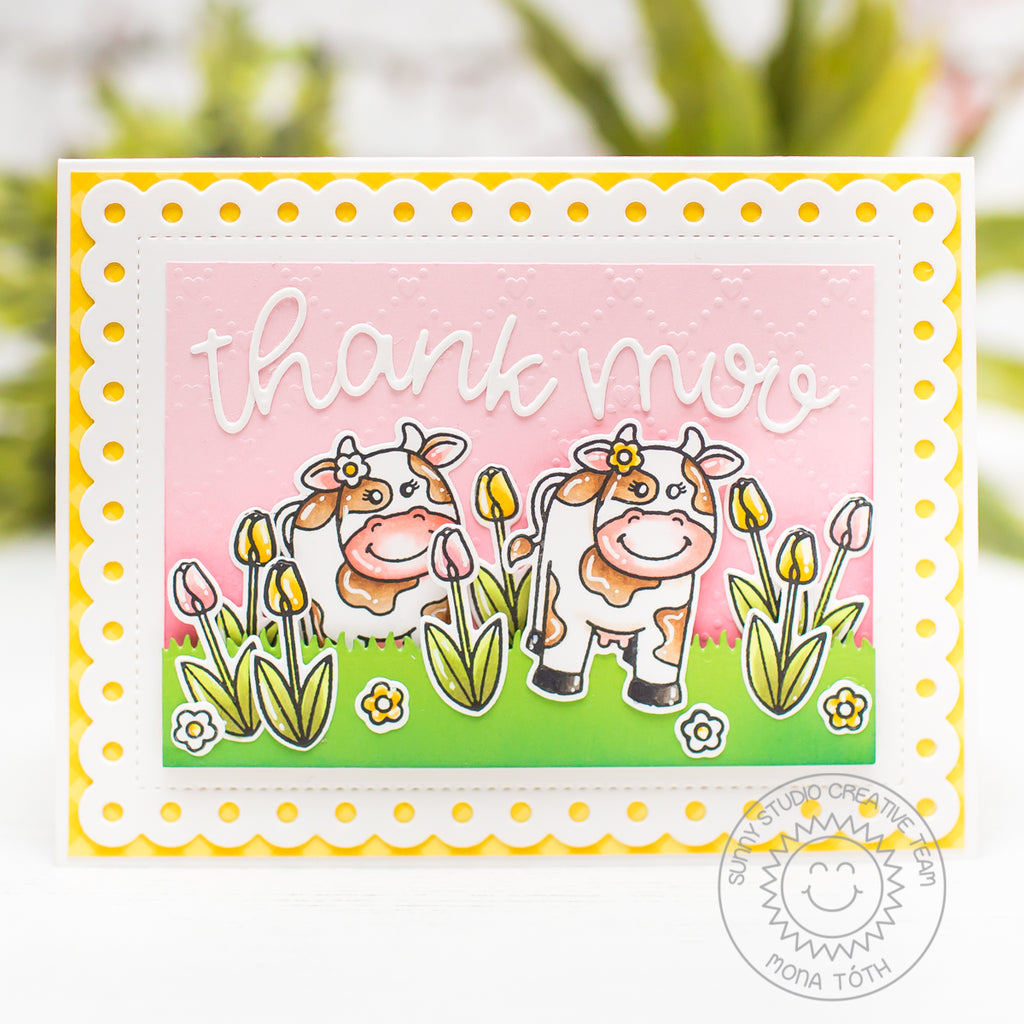 Sunny Studio Miss Moo Cow Themed Thank You Card (using Frilly Frames Polka Dot Dies)