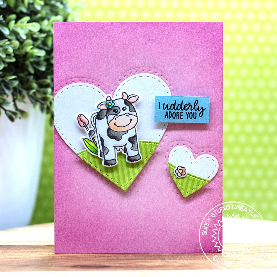 Sunny Studio Stamps Miss Moo Love Themed Cow Card with Heart Frames