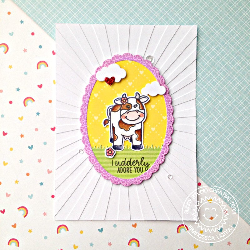 Sunny Studio Stamps I Underly Adore You Cow Card (using Sunburst 6x6 Embossing Folder)
