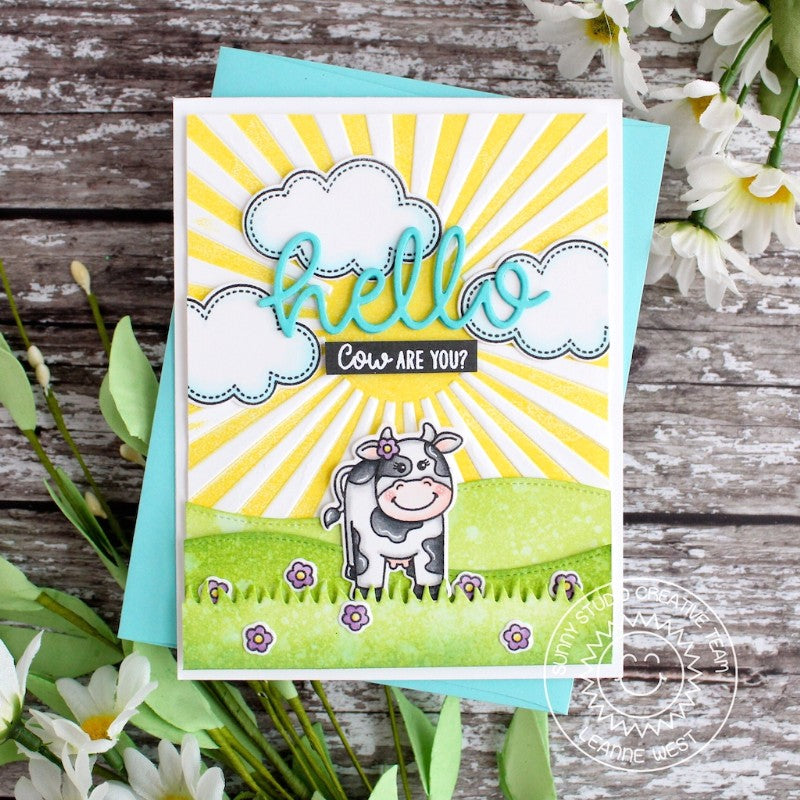 Sunny Studio Stamps Miss Moo Cow on The Farm Card with Sunburst Background
