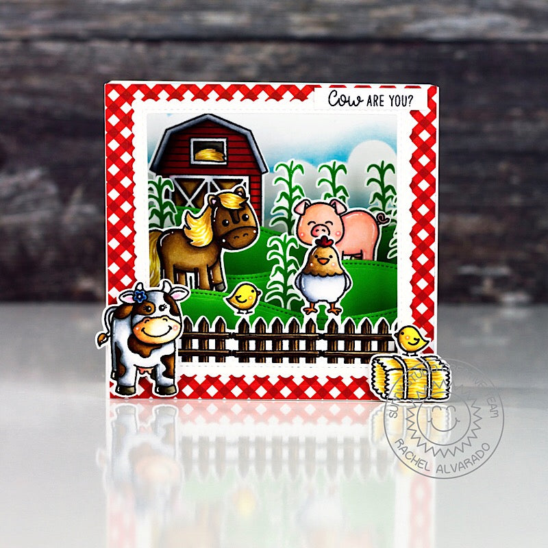 Sunny Studio Farm Cow Themed Pop-Up Box Card (using Miss Moo & Barnyard Buddies Stamps)