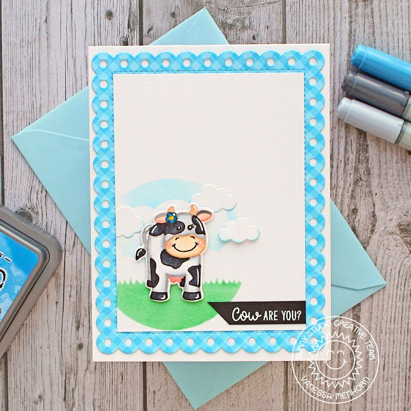 Sunny Studio Stamps Miss Moo Cow Card by Vanessa Menhorn (featuring no-line coloring technique)