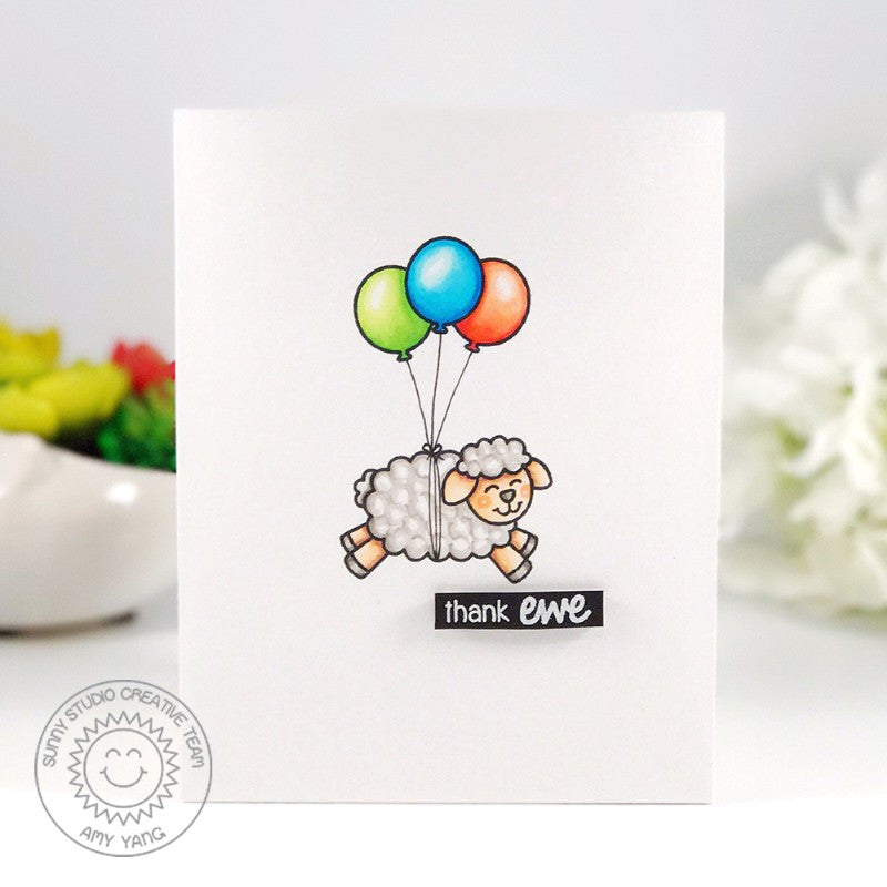 Sunny Studio Stamps Missing Ewe Floating Sheep with Balloons Card