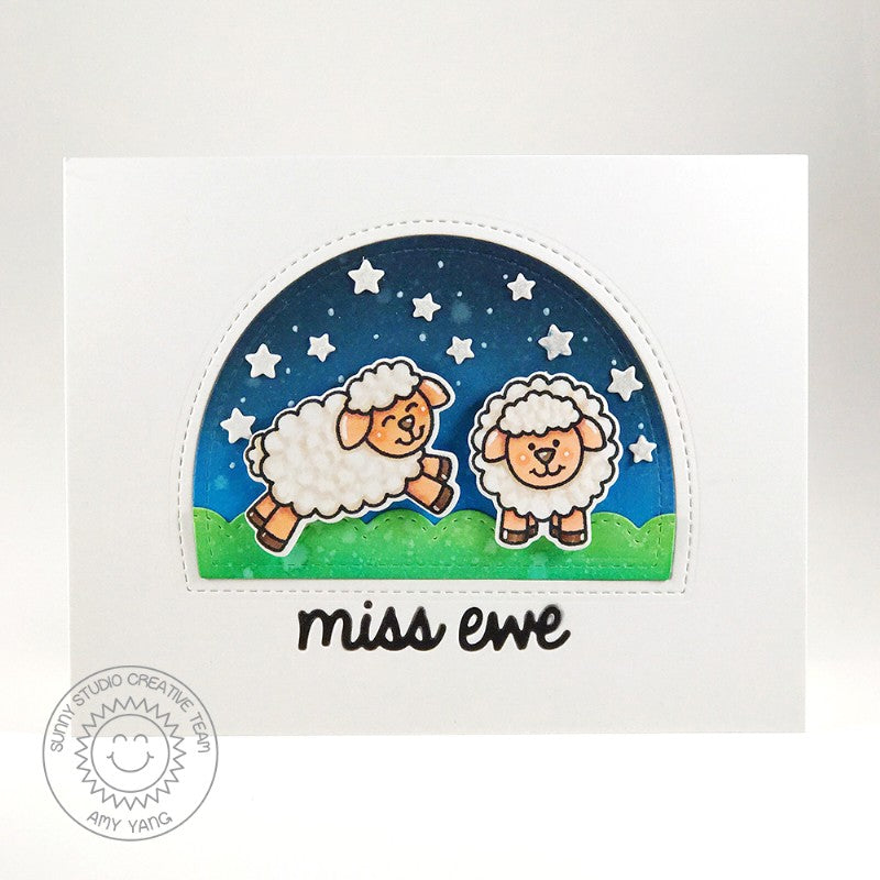 Sunny Studio Stamps Missing Ewe Starry Night Sheep Card by Amy Yang