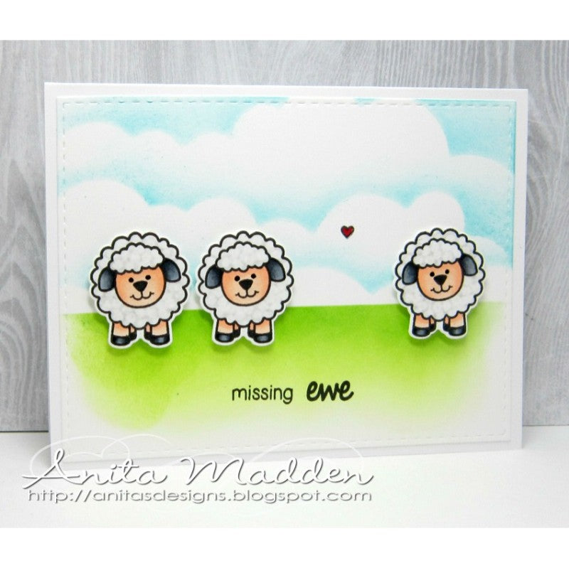 Sunny Studio Stamps Missing Ewe Sheep Trio Card by Anita Madden.