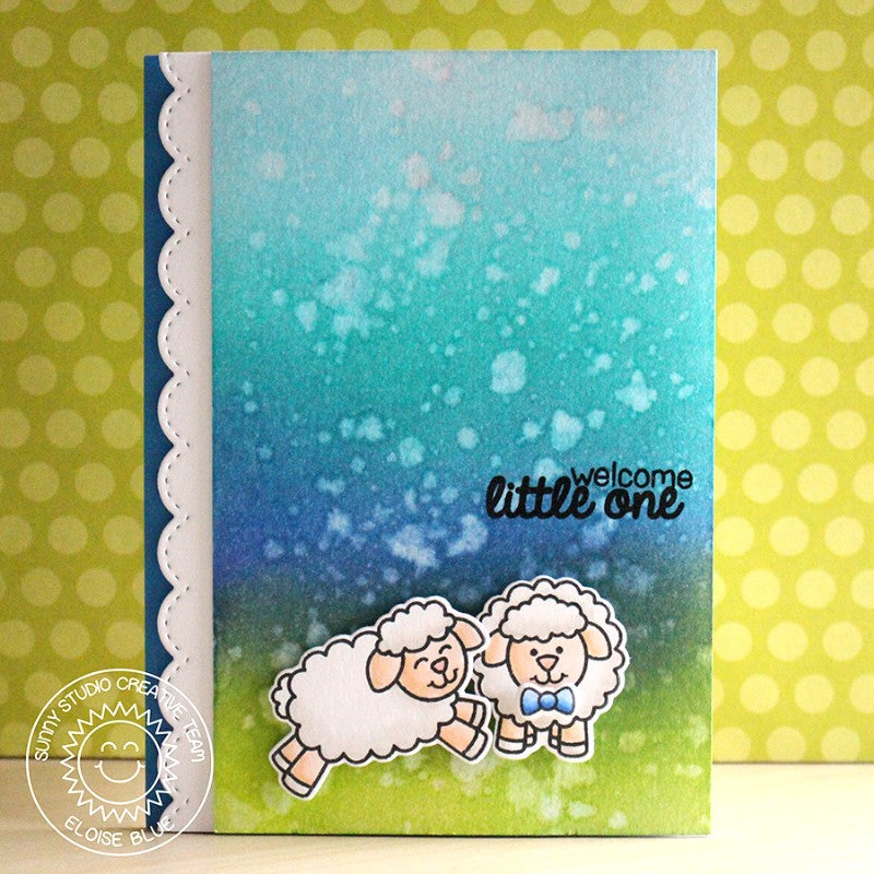 Sunny Studio Stamps Missing Ewe Little One Blue Baby Boy Card