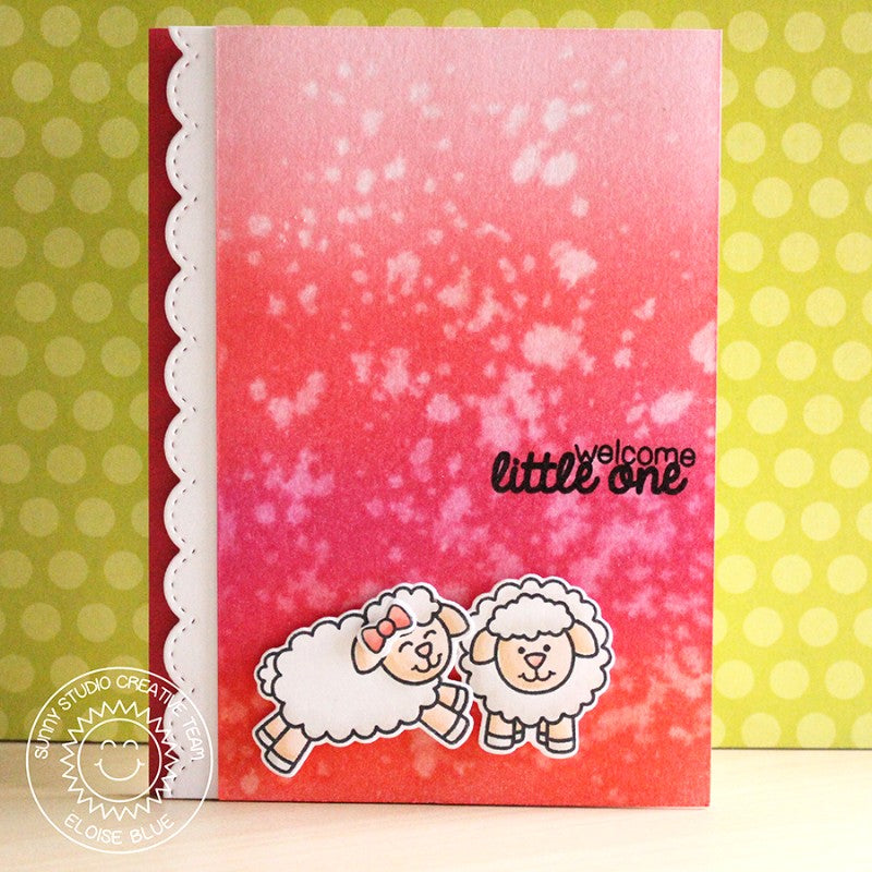 Sunny Studio Stamps Missing Ewe Little One Pink Baby Girl Card