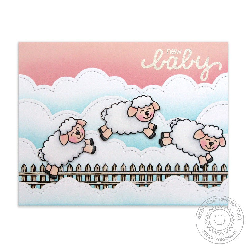Sunny Studio Stamps: Missing Ewe Counting Sheep Baby Card by Mendi Yoshikawa