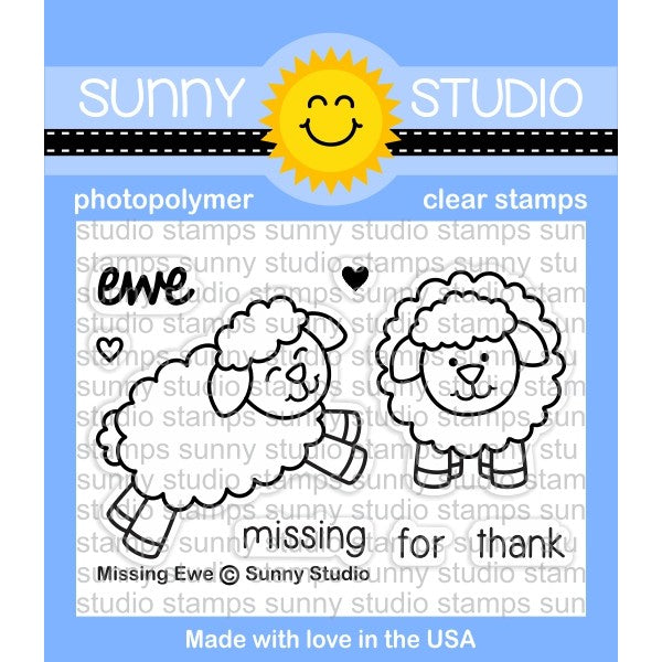 Sunny Studio Stamps Missing Ewe 2x3 Sheep Photopolymer Clear Stamp Set