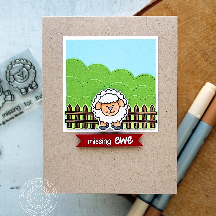 Sunny Studio Stamps Missing Ewe Sheep Card by Vanessa Menhorn.