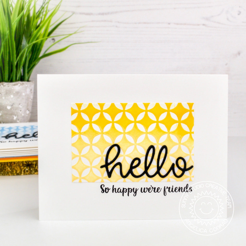 Sunny Studio Stamps Embossed Clean and Simple CAS Hello Handmade Card by Angelica (using Moroccan Circles 6x6 Embossing Folder)